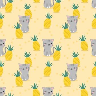 Schattige kat en ananas naadloze patroon.