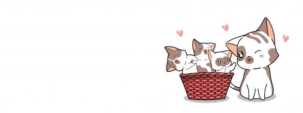 Schattige kat en geliefde baby's