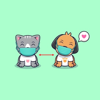 Schattige kat en hond houden hun afstand