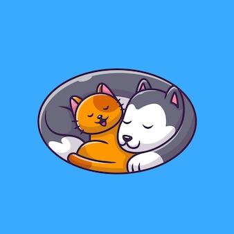 Schattige kat en hond slapen logo pictogram illustratie. dierlijke liefde pictogram concept.
