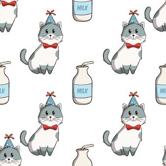 Schattige kat en melk in naadloos patroon met gekleurde doodle stijl op witte achtergrond