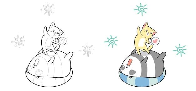 Schattige kat en panda cartoon in zomerdag kleurplaat pagina voor kinderen