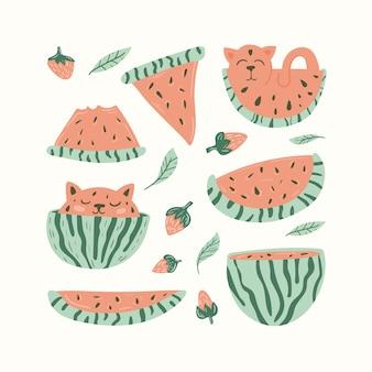 Schattige kat en watermeloen