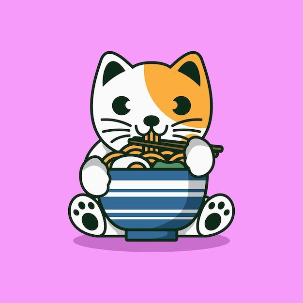 Schattige kat eten ramen noodle cartoon vectorillustratie