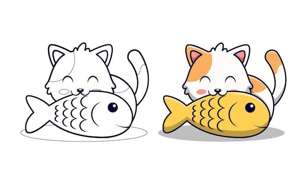 Schattige kat eten vis cartoon kleurplaten voor kinderen