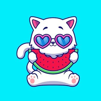 Schattige kat eten watermeloen fruit cartoon afbeelding. dierlijk voedselconcept geïsoleerd. platte cartoonstijl