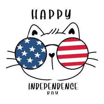 Schattige kat gezicht hoofd met amerikaanse vlag strepen en sterren bril, 4 juli onafhankelijkheidsdag