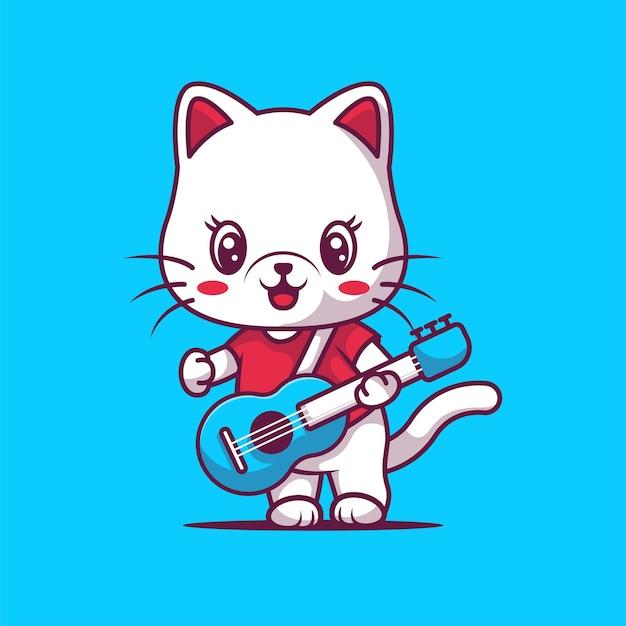 Schattige kat gitaar spelen illustratie