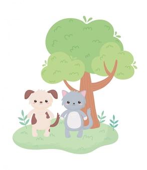 Schattige kat hond boom gras tekenfilm dieren in een natuurlijke landschap vectorillustratie