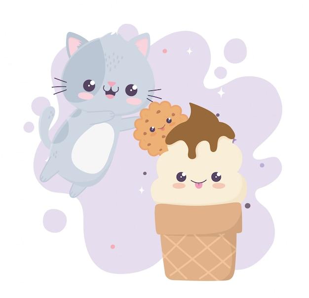 Schattige kat ijs en cookie kawaii stripfiguur
