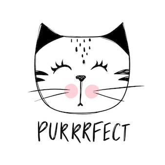Schattige kat illustratie. hand getekend stijlvolle kitten.