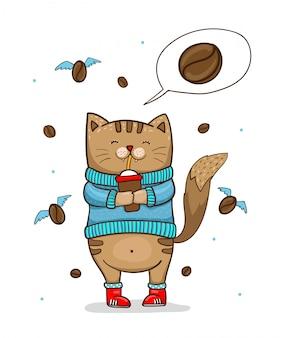 Schattige kat in blauwe trui met kopje koffie