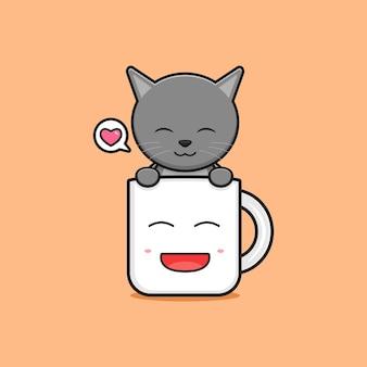 Schattige kat in de mok cartoon pictogram illustratie. ontwerp geïsoleerde platte cartoonstijl
