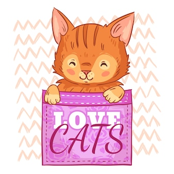 Schattige kat in de zak. houd van katten, zakkenkatje en de glimlachende illustratie van het kattenbeeldverhaal