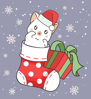 Schattige kat is in een sok en een geschenk op eerste kerstdag