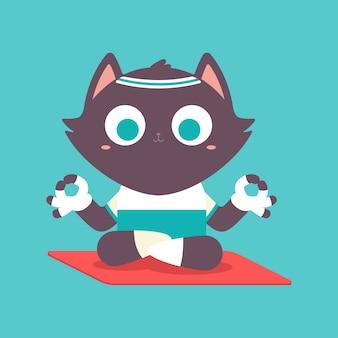 Schattige kat jongen in yoga pose. grappige vector huisdier stripfiguur in lotus houdingen geïsoleerd op een spatie.