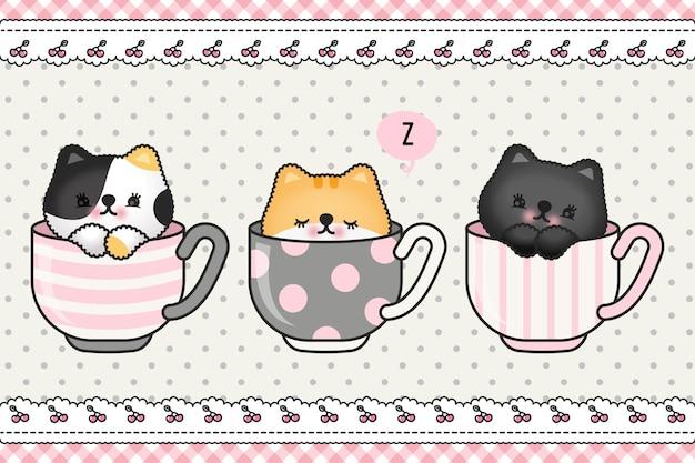Schattige kat kitten familie groet cartoon doodle behang omslag