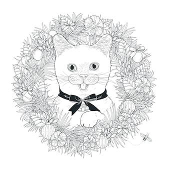Schattige kat kleurplaat in prachtige stijl