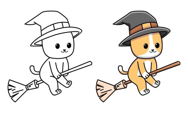 Schattige kat kleurplaat voor kinderen