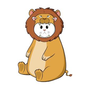 Schattige kat leeuw kostuum dragen
