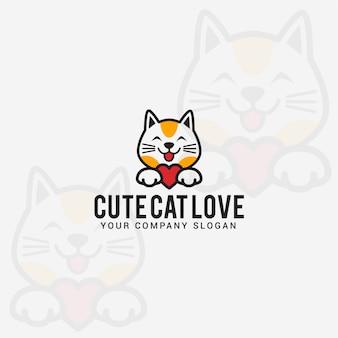 Schattige kat liefde logo