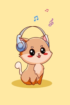 Schattige kat luisteren muziek met hoofdtelefoon pictogram cartoon afbeelding
