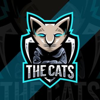 Schattige kat mascotte esport logo-ontwerp