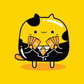 Schattige kat mascotte karakter bankier beroep in platte cartoon stijl