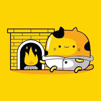 Schattige kat mascotte karakter brandend brandhout in platte cartoonstijl
