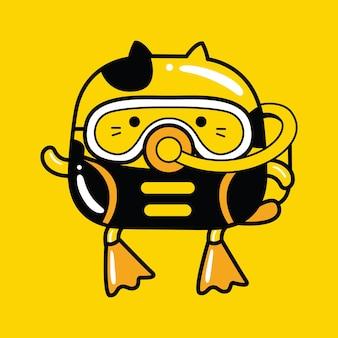 Schattige kat mascotte karakter duiker beroep in platte cartoonstijl