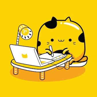Schattige kat mascotte karakter grafisch ontwerper beroep in platte cartoonstijl
