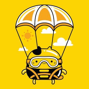 Schattige kat mascotte karakter parachute landing in platte cartoonstijl