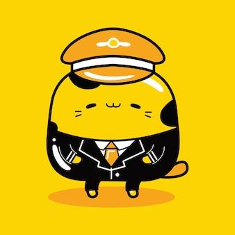 Schattige kat mascotte karakter piloot beroep in platte cartoonstijl