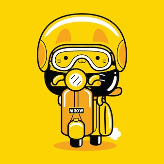 Schattige kat mascotte karakter rijden scooter in platte cartoon stijl