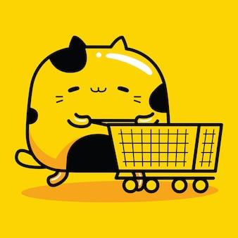 Schattige kat mascotte karakter winkelen in de supermarkt in platte cartoon-stijl