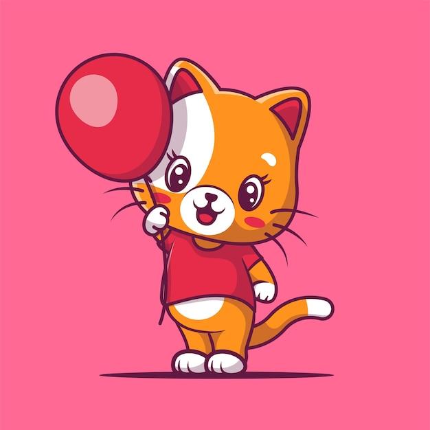 Schattige kat met ballon cartoon afbeelding