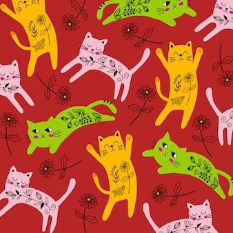 Schattige kat met bloemenpatroon