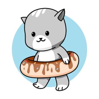 Schattige kat met dessert cartoon afbeelding