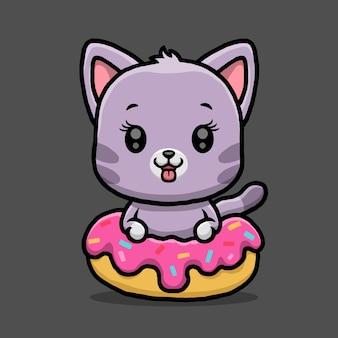 Schattige kat met donut geïsoleerd op zwarte achtergrond.