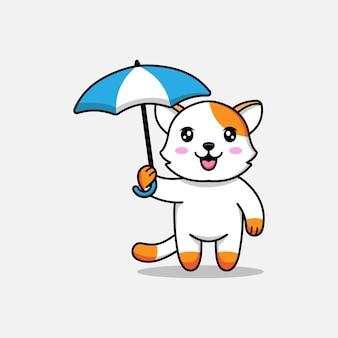 Schattige kat met een paraplu