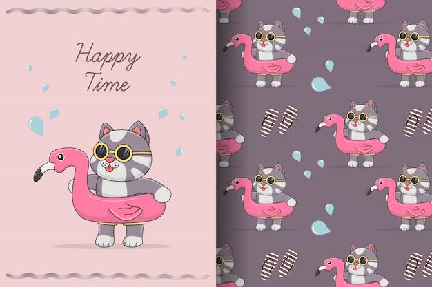 Schattige kat met flamingo rubber naadloze patroon en kaart