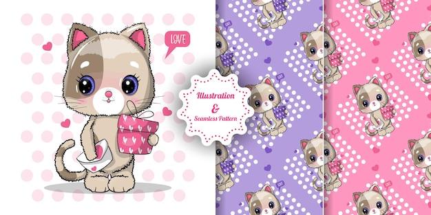 Schattige kat met geschenkdoos voor valentijnsdag en patroon set