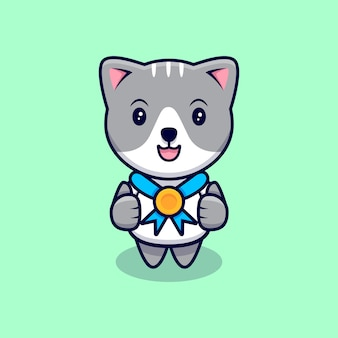 Schattige kat met gouden medaille cartoon pictogram illustratie. platte cartoon stijl