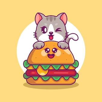 Schattige kat met grote kaasburger cartoon