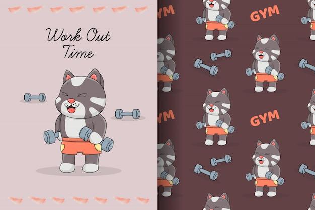 Schattige kat met halter naadloze patroon en kaart