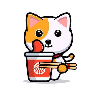 Schattige kat met instant noodle cartoon mascotte