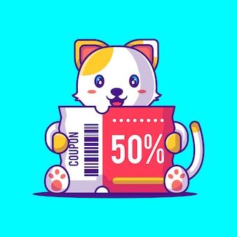 Schattige kat met kortingsbon cartoon afbeelding. dierlijke en flash-verkoop flat cartoon style concept
