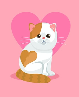 Schattige kat met neus en hart op keerzijde