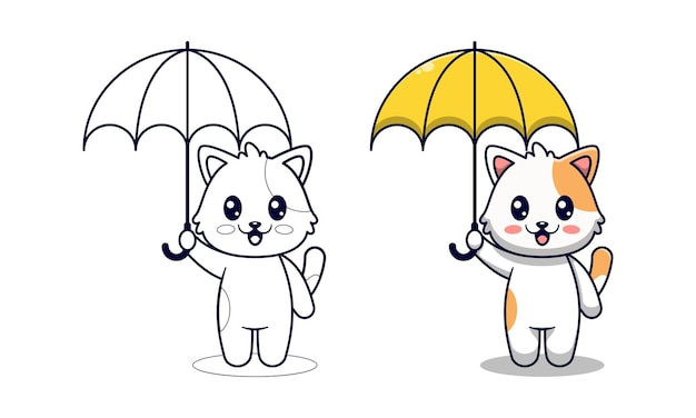 Schattige kat met paraplu cartoon kleurplaten voor kinderen