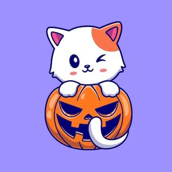 Schattige kat met pompoen halloween cartoon vector pictogram illustratie. dierlijke vakantie pictogram concept geïsoleerd premium vector. platte cartoonstijl